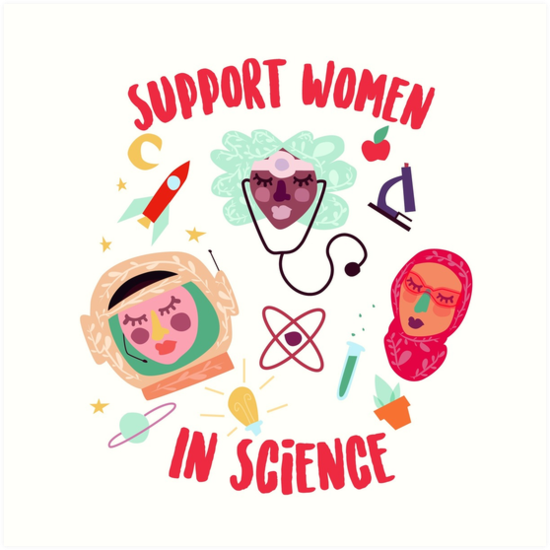 Women in Science Art by https://www.redbubble.com/people/DesignLagartija - available for purchase following this link to her Redbubble site
